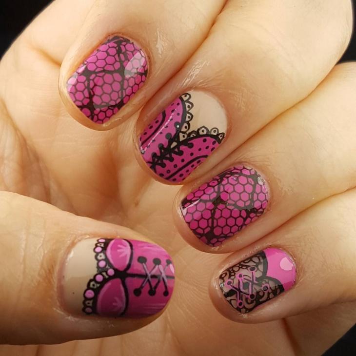 pink corset nails