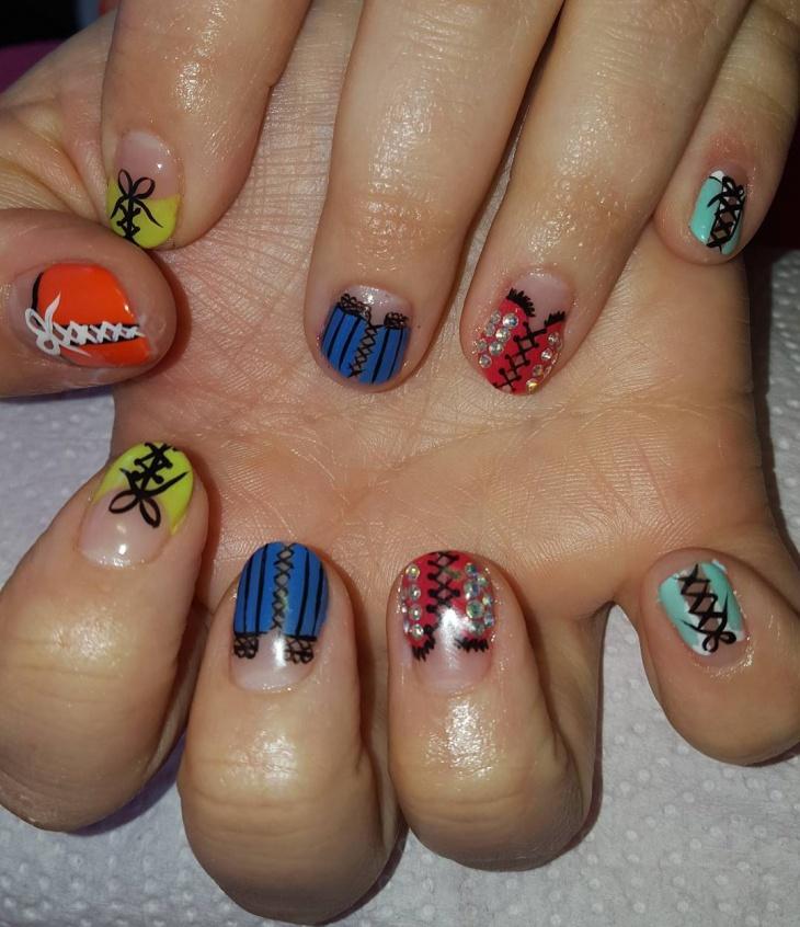 colorful corset nail art design