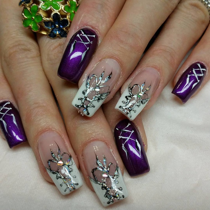 diagonal corset nail art idea