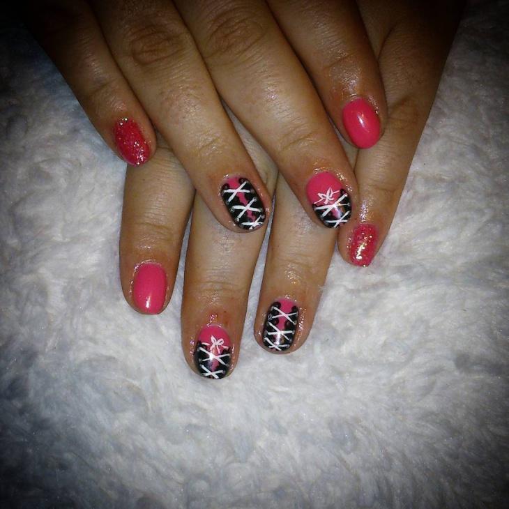 glitter corset nail design