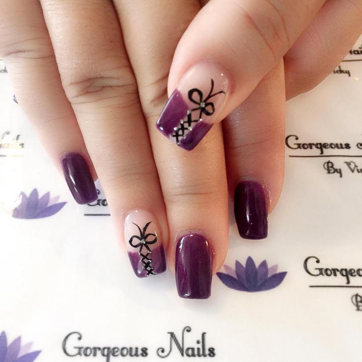 purple corset nails design