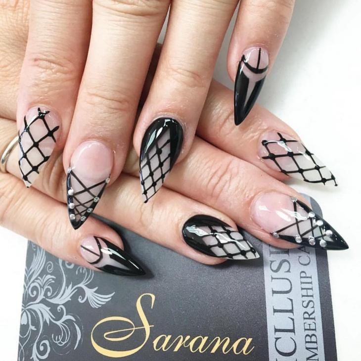 black corset nail art idea