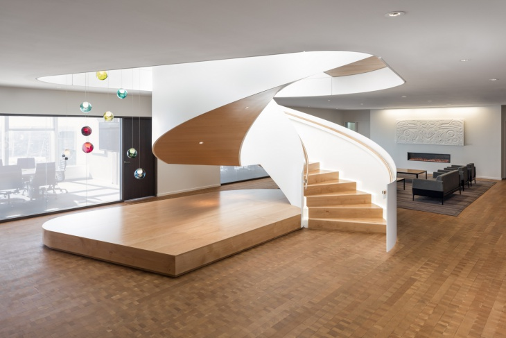 Modern Wood Spiral Staircase Design