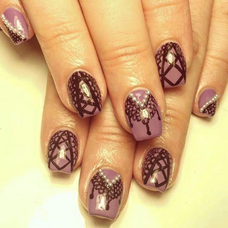 lace corset nail art design