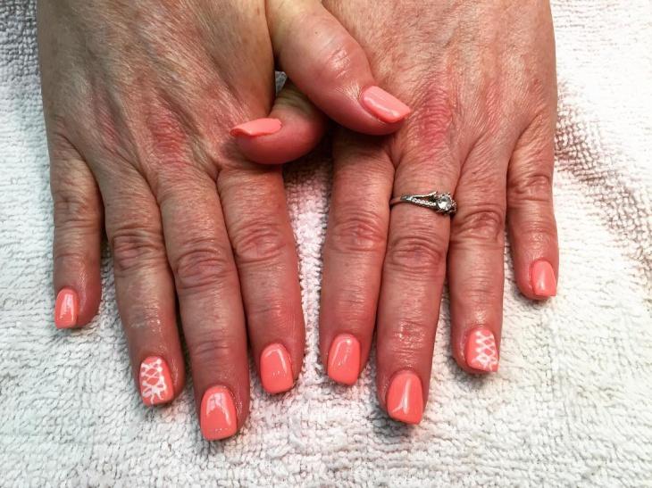 peach color corset nails idea