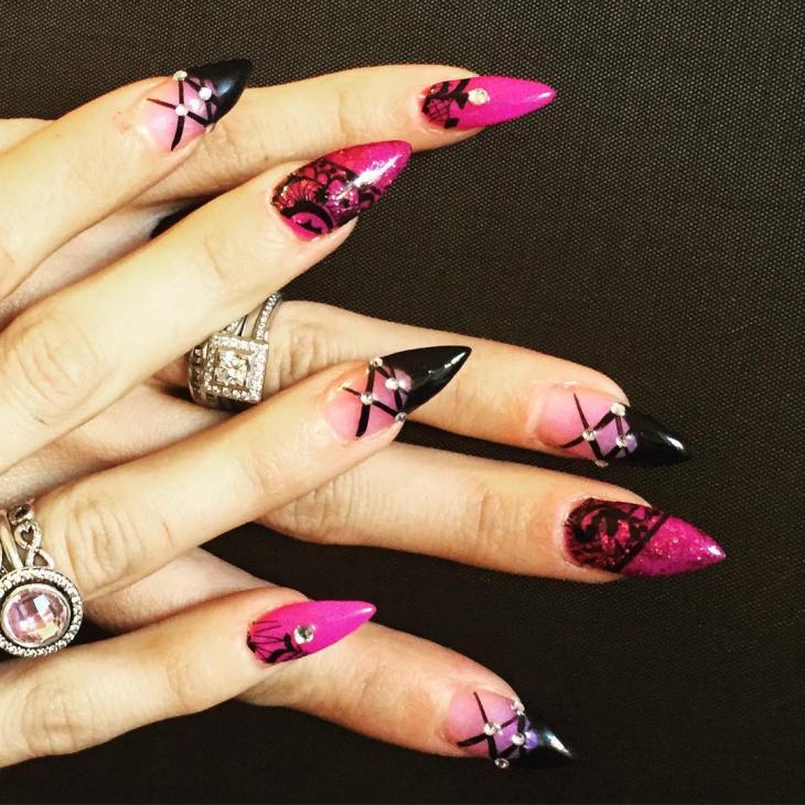 corset nail art for long nails