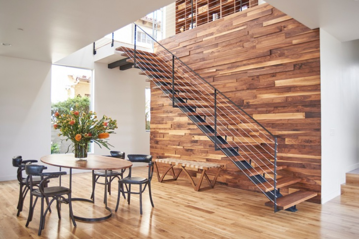 Modern Wood Wall & Stair Idea
