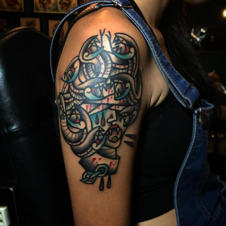 creepy medusa tattoo idea
