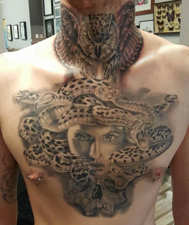 medusa tattoo on chest