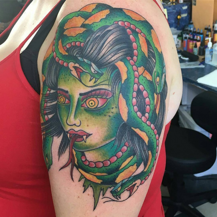 colorful medusa tattoo
