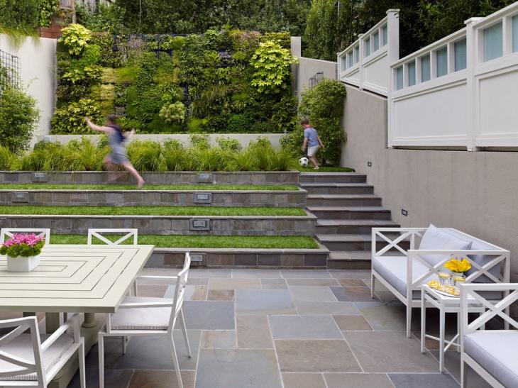 small sloped backyard