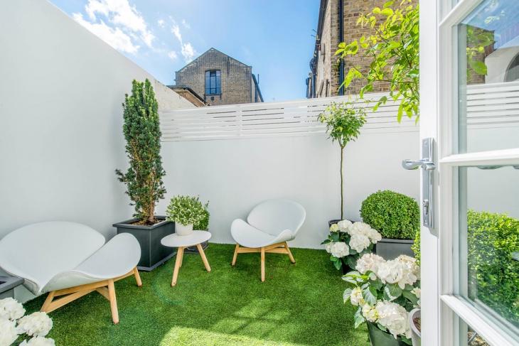 contemporary small space backyard