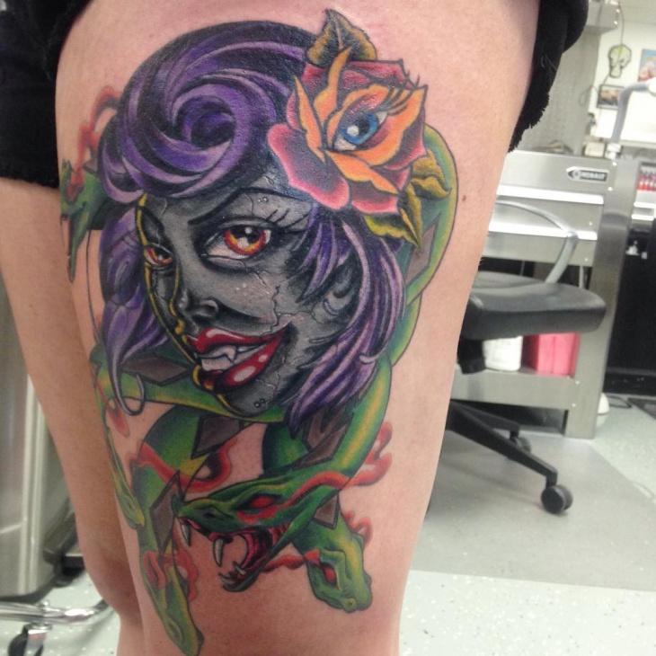 flower eye medusa tattoo