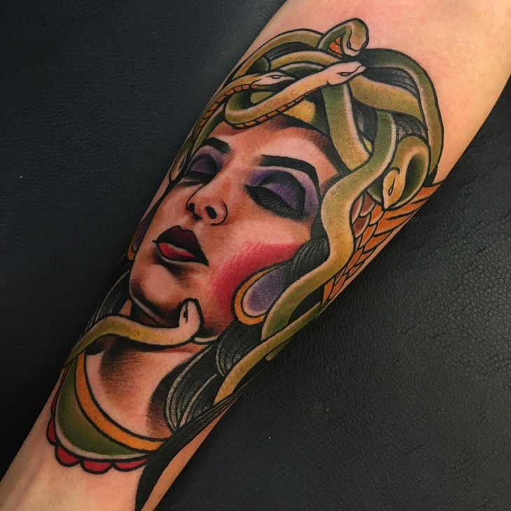 closed eyes medusa tattoo