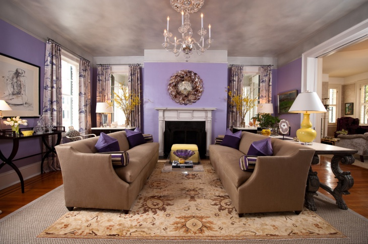 transitional purple living room