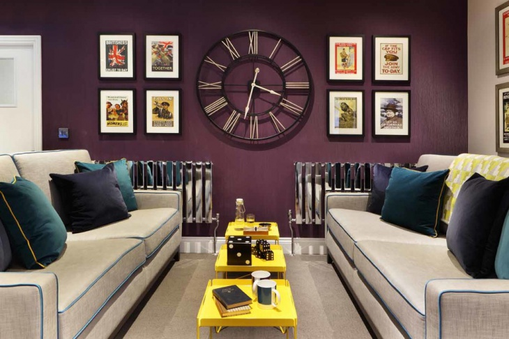 contemporary purple living room