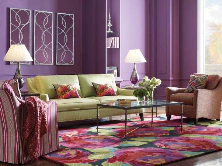 modern purple living room design