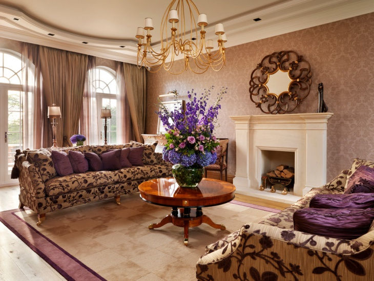 18+ Purple Living Room Designs, Ideas