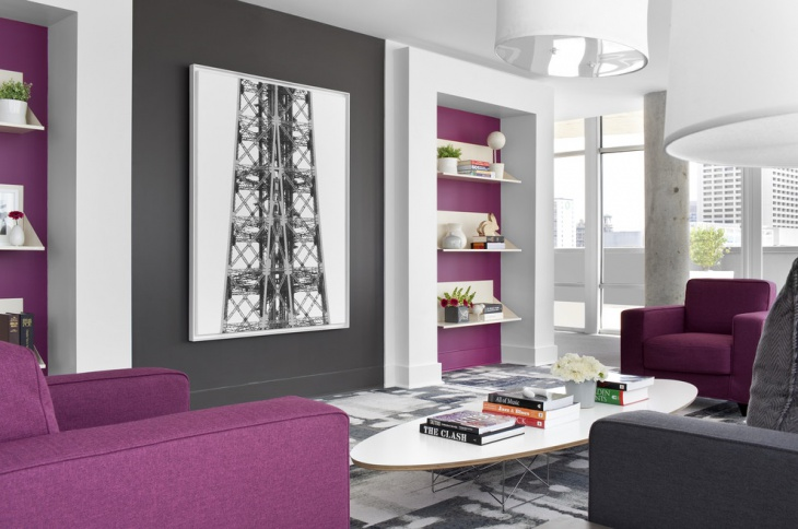 white and purple living room design