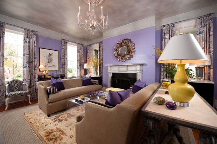 neutral purple living room