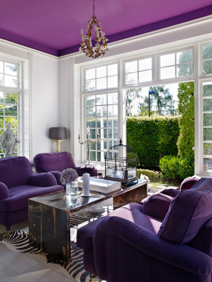 Violet Room Design: 18+ Purple Living Room Designs, Ideas