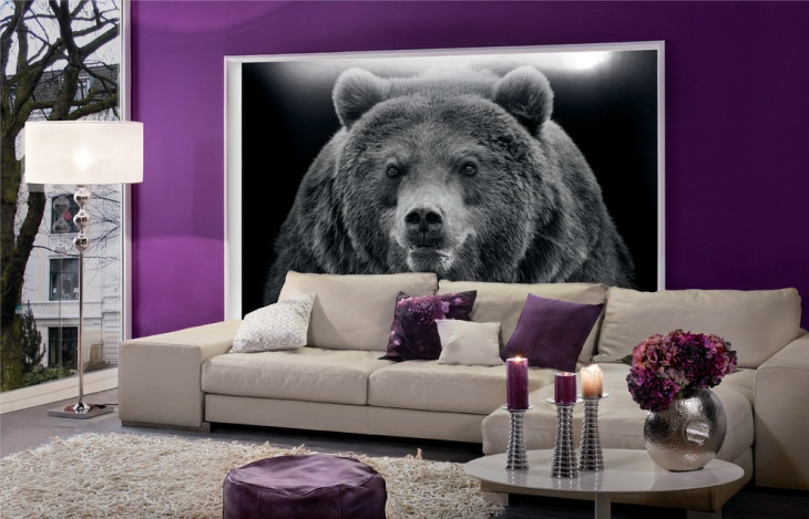 purple living room wall art
