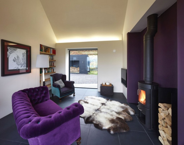 purple living room sofa idea