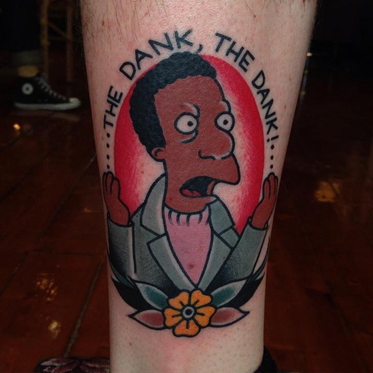 Simpsons Leg Tattoo Idea