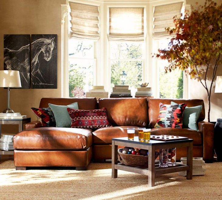 leather pottery barn sofa for small space