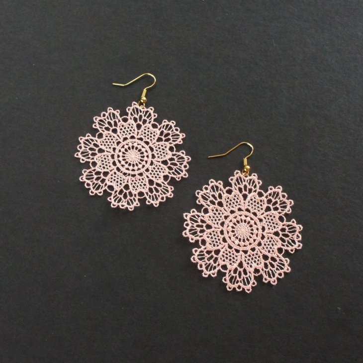 embroidery lace earrings