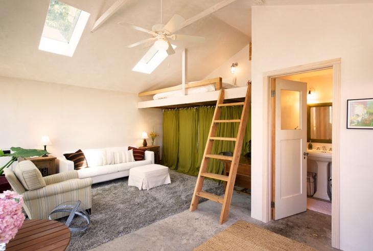 small space sofa skylight idea