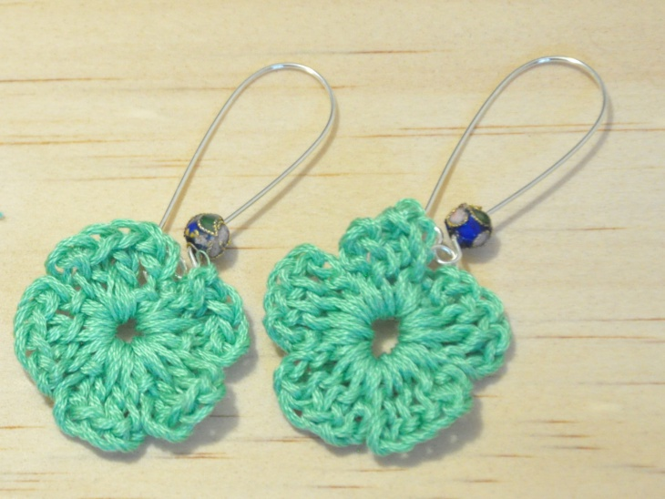 crochet embroidery earrings