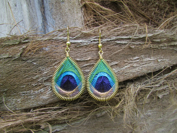 embroidery feather earrings