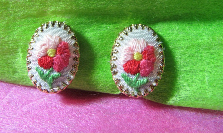 embroidery clip on earrings