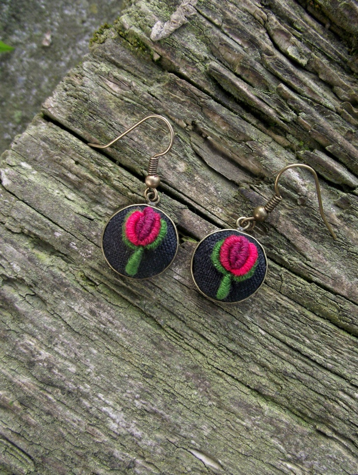 rose embroidered earrings