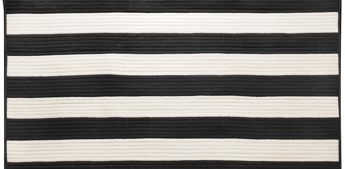 connect patterned striped black and white rug