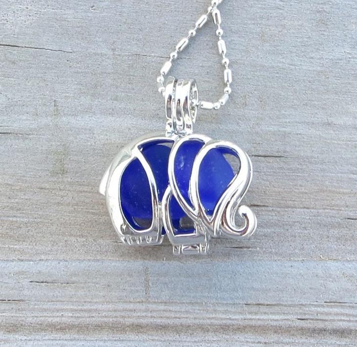 Sea Glass Elephant Necklace Locket