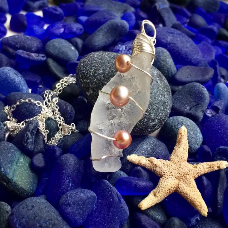 Beach Glass Pearl Pendant