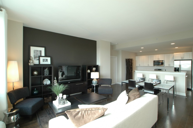 dark accent wall living room