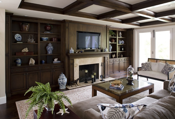 Hardwood Dark Living Room Ceiling
