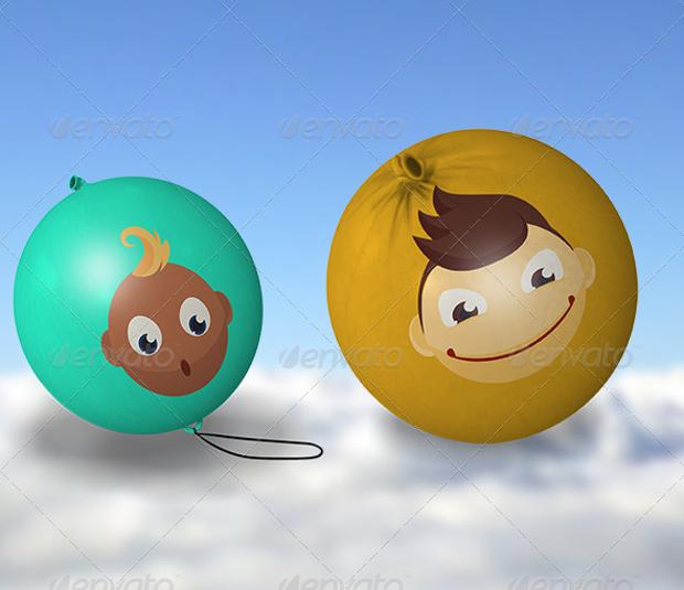 3d balloon mockup design