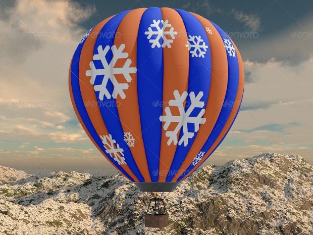 hot air balloon photoshop mockup