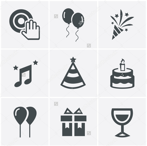 Vector Design party Icons Set