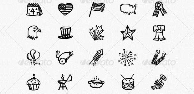 90 hand drawn holiday icons