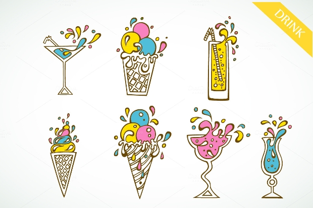 colorful cocktails party icons