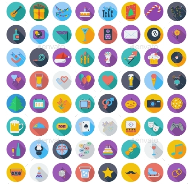 colorful party icons set