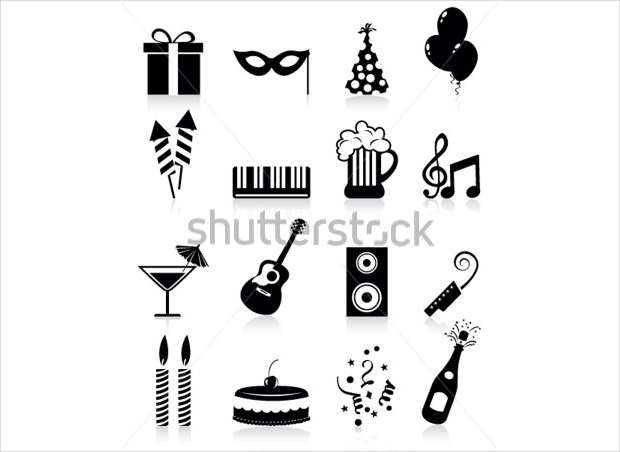 black and white party icons