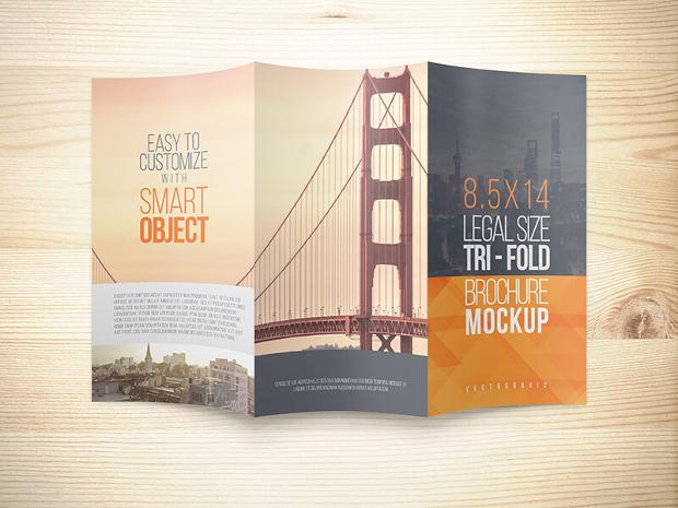 8.5x14 Legal Trifold Brochure Mockup