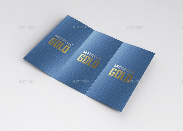 metallic gold trifold brochure mockup
