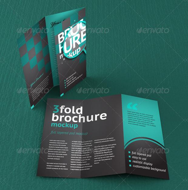 realistic trifold brochure mockup